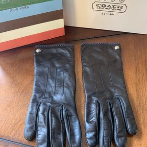 COACH LEATHER CASHMERE LINED GLOVE